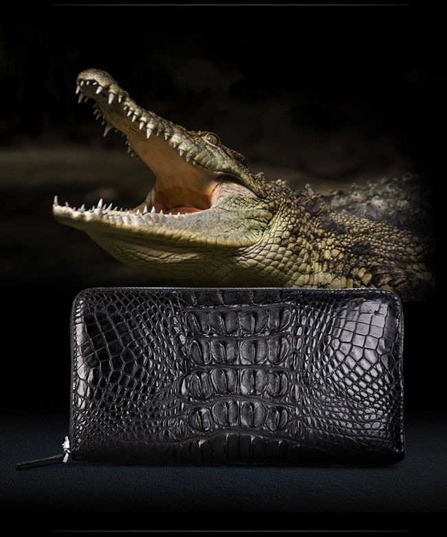 BRUCEGAO's Crocodile Leather Wallet for Men