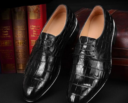 Black Alligator Leather Shoes