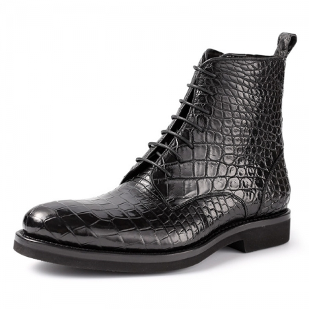 Black Genuine Alligator Boots