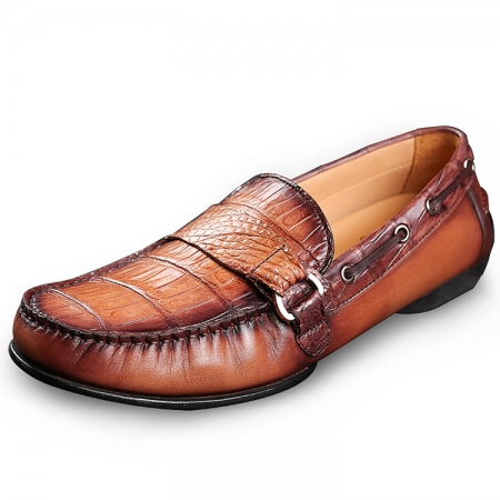 Brown Alligator Boat Shoes