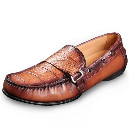 Brown Alligator Boat Shoes