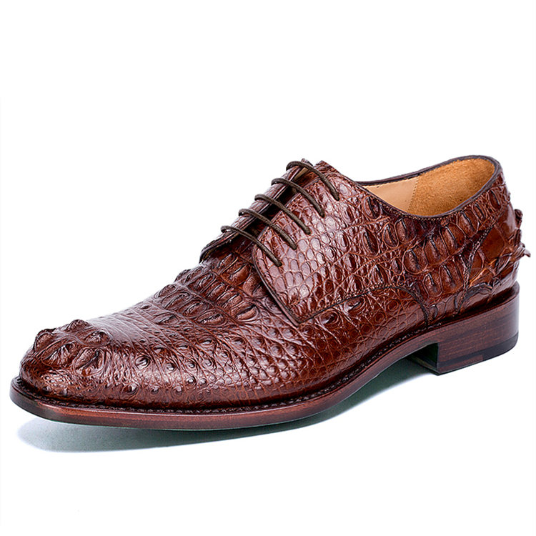 Brown Genuine Crocodile Leather Shoes