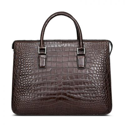 Brown Luxury Crocodile Laptop Bag for Men