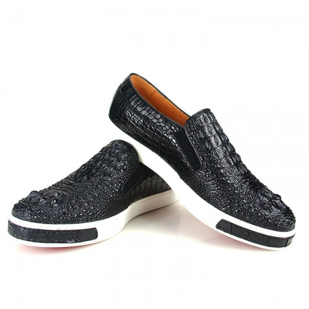 Casual Crocodile Shoes, Black Crocodile Sneakers