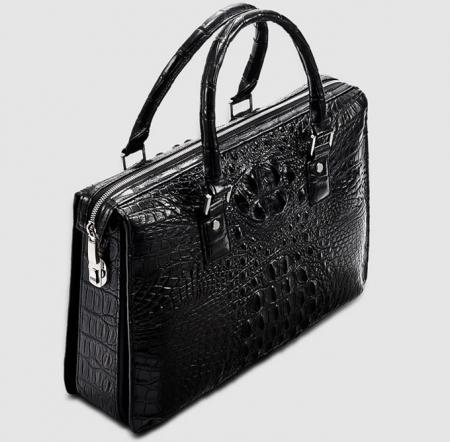 Classic Black Genuine Crocodile Briefcase-Top