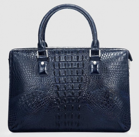 Classic Blue Genuine Crocodile Briefcase-Back