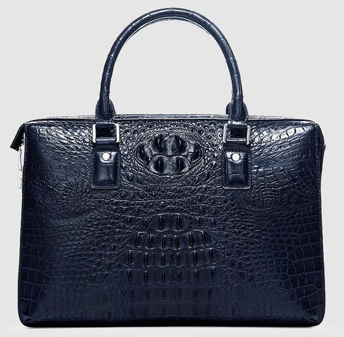 Classic Blue Genuine Crocodile Briefcase-Front