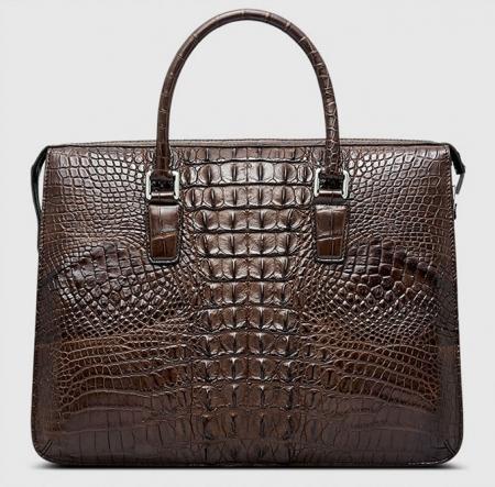 Classic Brown Genuine Crocodile Briefcase-Back