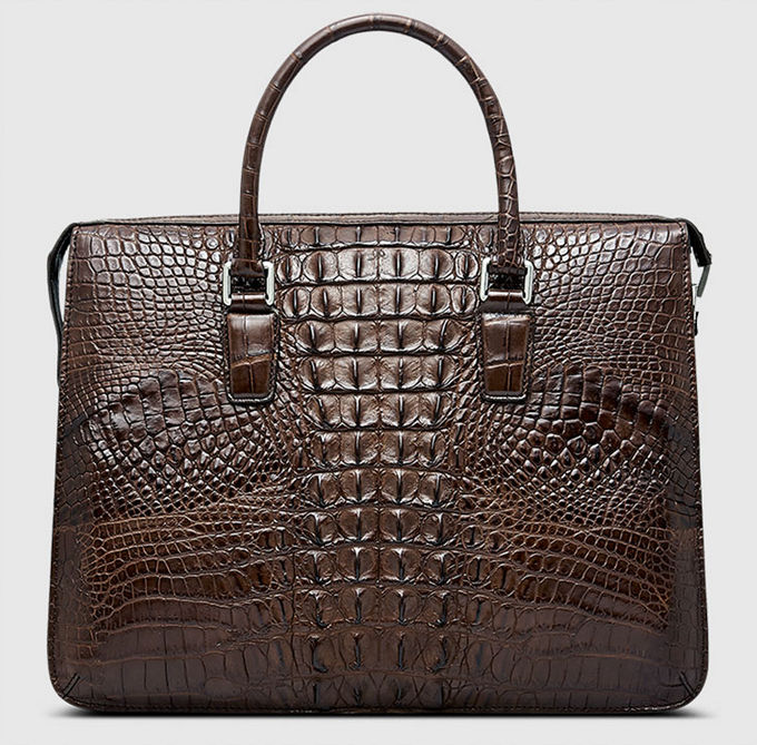 Classic Brown Genuine Crocodile Briefcase-Back