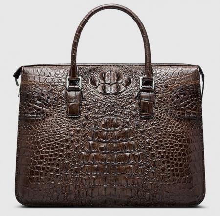 Classic Brown Genuine Crocodile Briefcase-Front