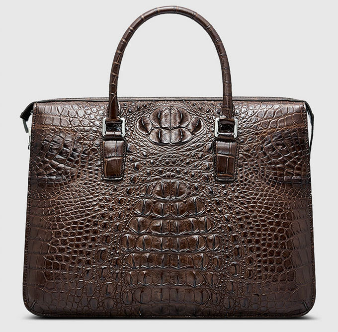 Classic Brown Genuine Crocodile Briefcase-Front