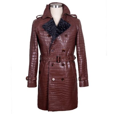 Genuine Alligator Leather Overcoat for Women