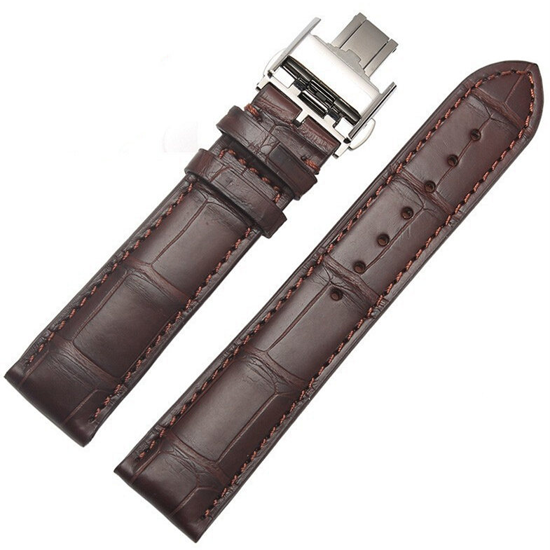 Genuine Alligator Leather Watch Strap With Butterfly Buckle