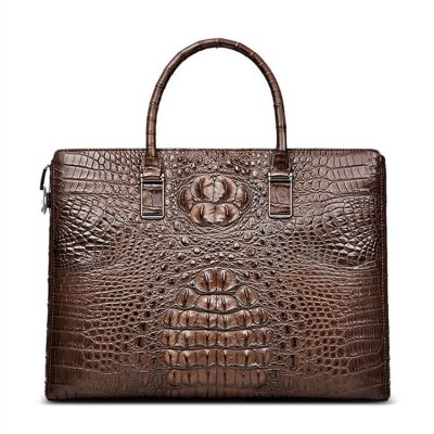 Genuine Brown Crocodile Bag,Crocodile Business Bag for Men