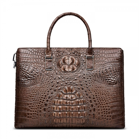 Genuine Brown Crocodile Bag,Crocodile Business Bag for Men