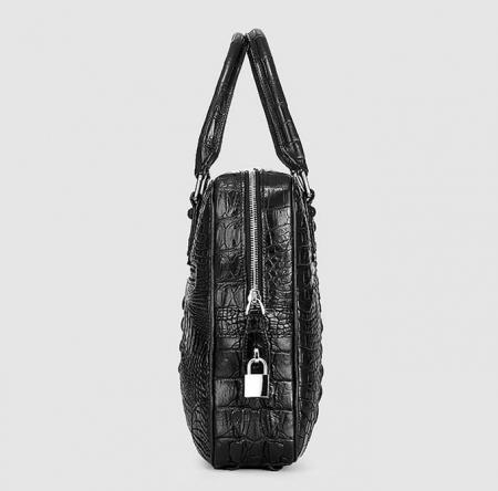 Small Black Genuine Crocodile Briefcase Bag-Side