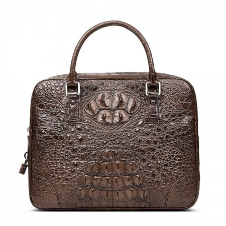 Small Brown Genuine Crocodile Briefcase Bag
