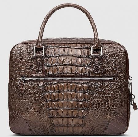 Small Brown Genuine Crocodile Briefcase Bag-Back