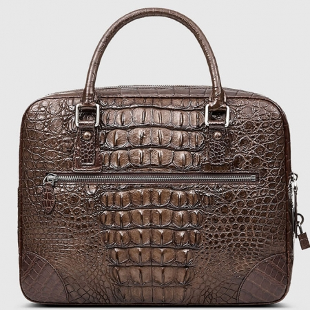 Small Brown Genuine Crocodile Briefcase Bag-Back