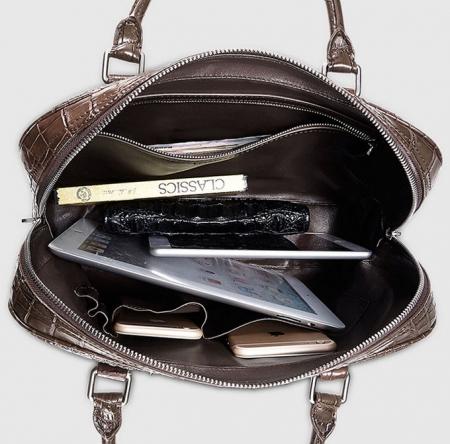 Small Brown Genuine Crocodile Briefcase Bag-Inside