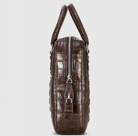 Small Brown Genuine Crocodile Briefcase Bag-Side
