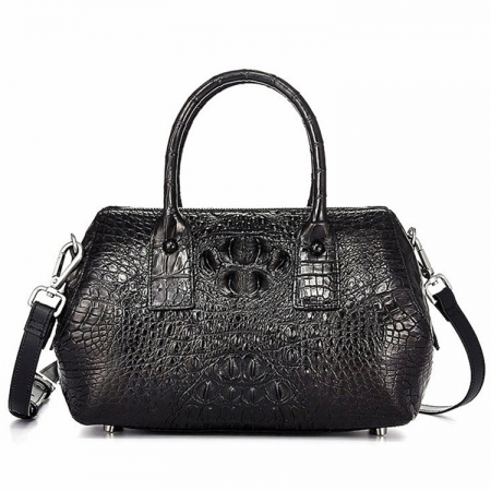 Stylish Crocodile Skin Barrel Bag, Crocodile Cross-body Bag