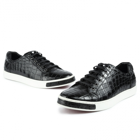 Alligator Leather Lace-Up Sneaker