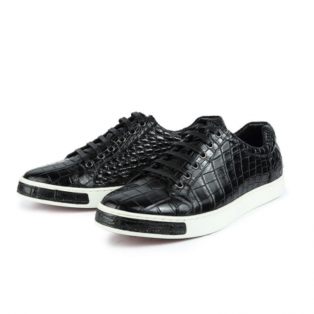 Alligator Leather Lace-Up Sneakers
