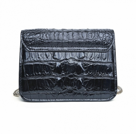 Alligator Leather Purse, Alligator Leather Cross-body Bag-Black-Back