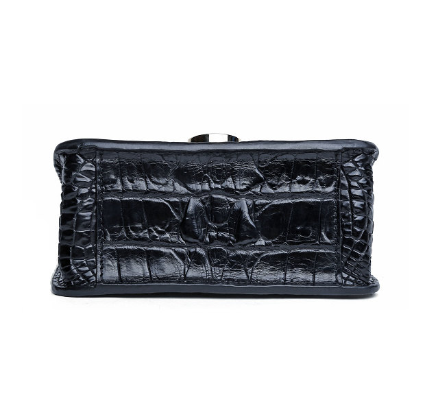Alligator Leather Purse, Alligator Leather Cross-body Bag-Black-Bottom