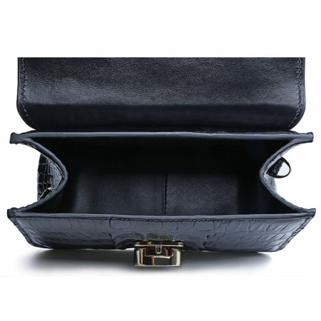 Alligator Leather Purse, Alligator Leather Cross-body Bag-Black-Inside