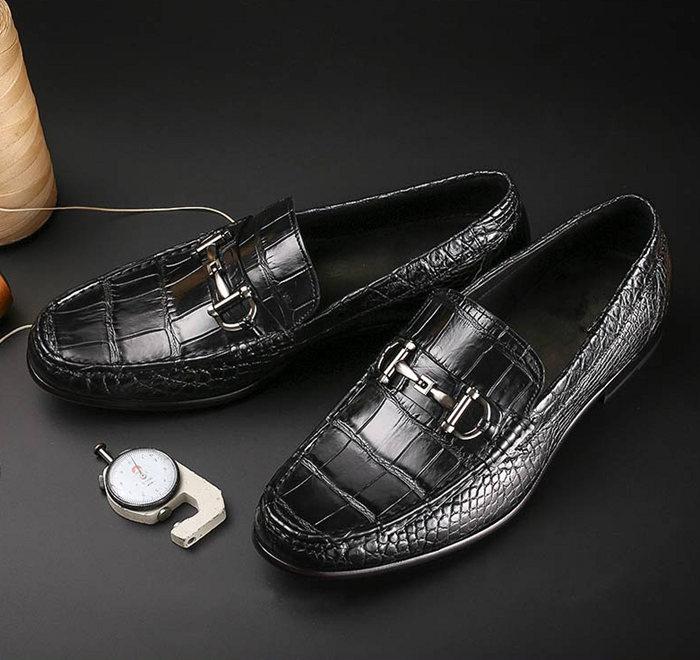 Black Alligator Leather Shoes for Him