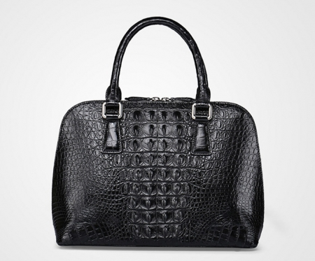 Black Classic Genuine Crocodile Handbag, Shoulder Handbag for Women-Back