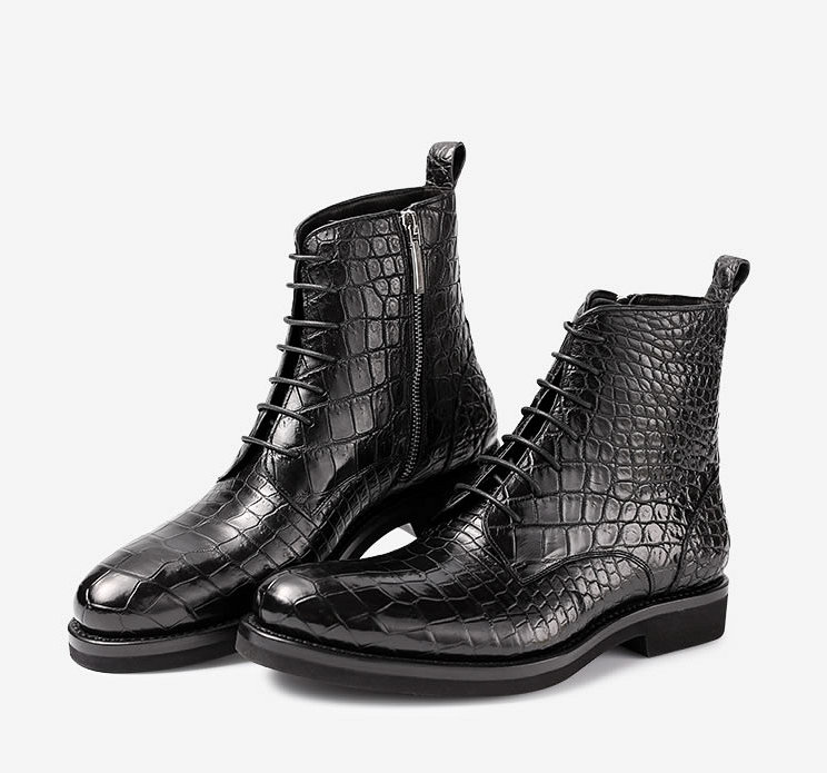 Black Genuine Alligator Boots-Exhibition