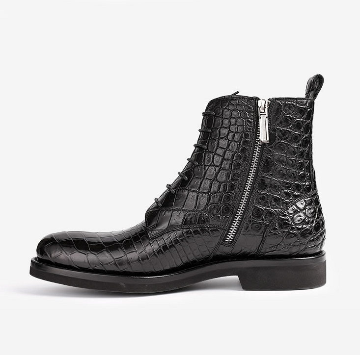 Black Genuine Alligator Boots-Side