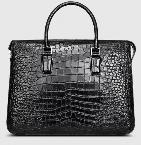 Black Luxury Alligator Business Briefcase for Men-Front