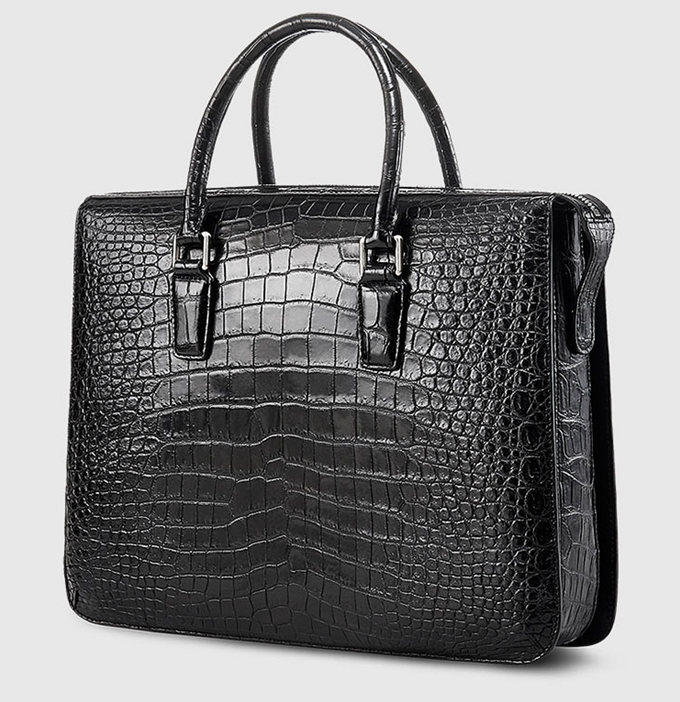 Black Luxury Alligator Business Briefcase for Men-Side