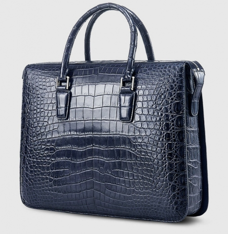 Blue Luxury Alligator Business Briefcase Alligator Laptop Bag for Men-Side
