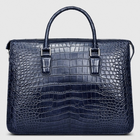 Blue Luxury Alligator Business Briefcase for Men-Front