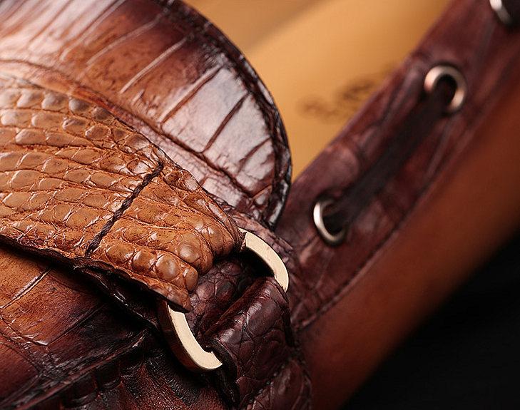 Brown Alligator Boat Shoes-Details-1