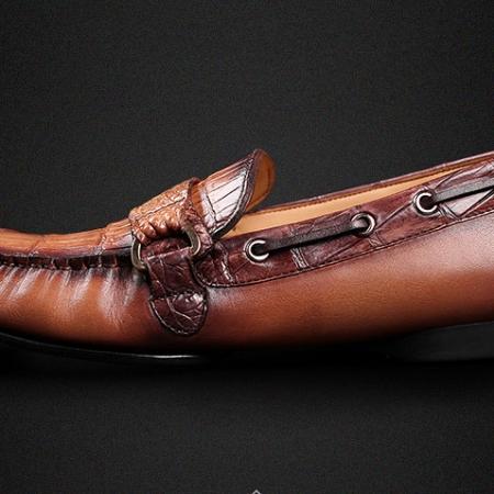 Brown Alligator Boat Shoes-Side