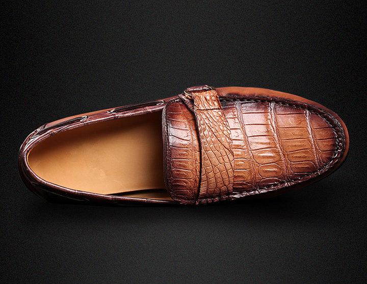 Brown Alligator Boat Shoes-Upper