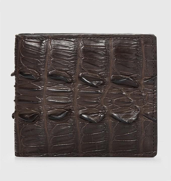 Brown Bifold Genuine Crocodile Wallet-Back
