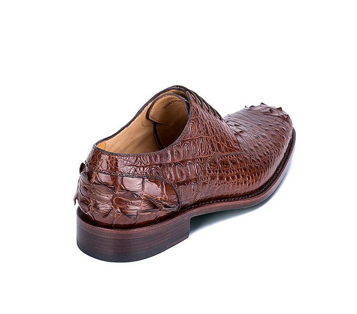 Brown Genuine Crocodile Leather Shoes-1