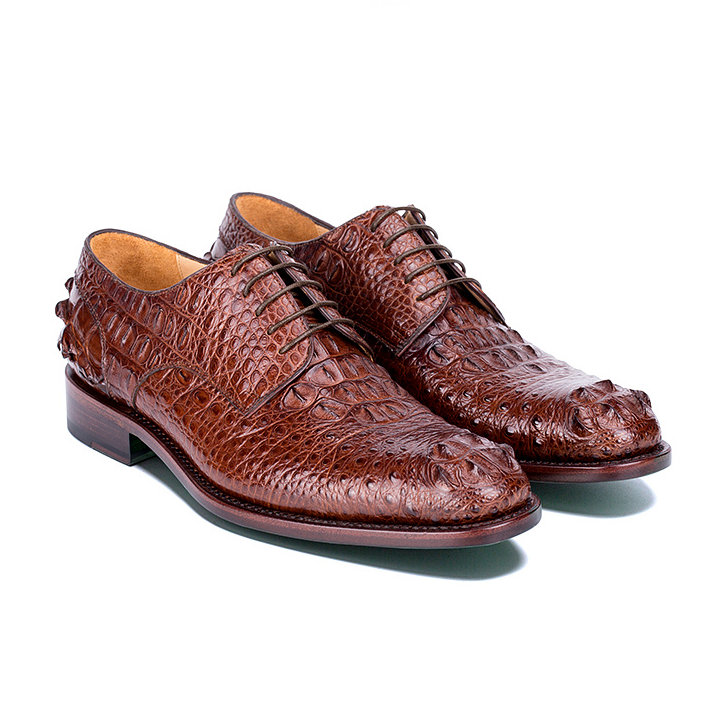 Brown Genuine Crocodile Leather Shoes-Exhibition