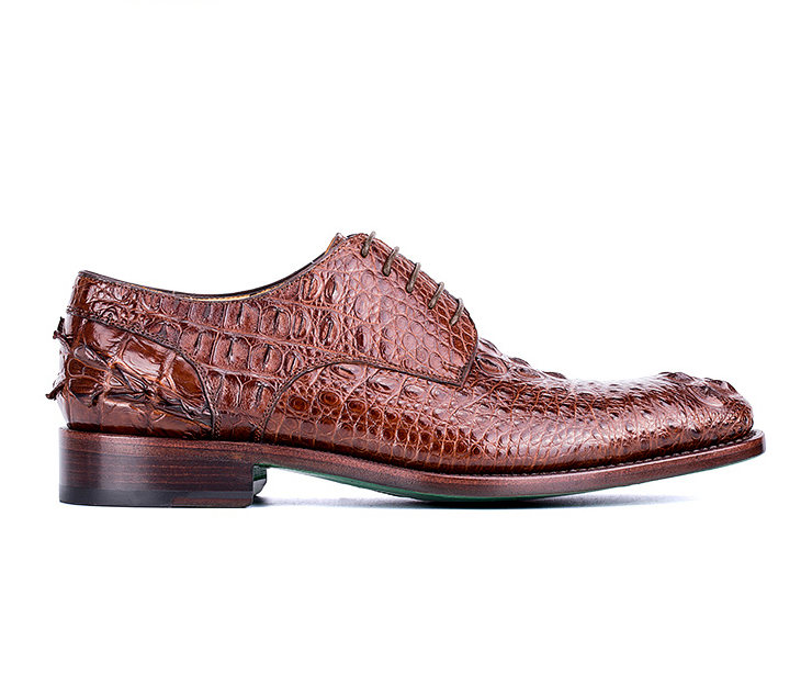 Brown Genuine Crocodile Leather Shoes-Side