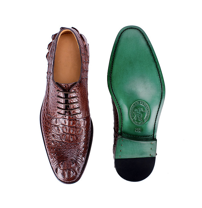 Brown Genuine Crocodile Leather Shoes-Upper-Sole