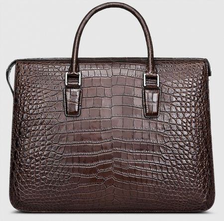 Brown Luxury Alligator Business Briefcase Alligator Laptop Bag for Men-Back