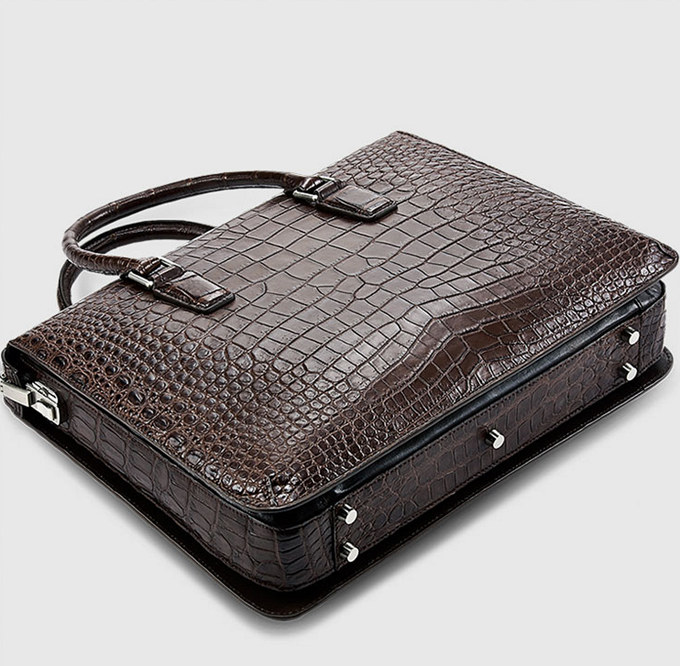 Brown Luxury Alligator Business Briefcase Alligator Laptop Bag for Men-Bottom