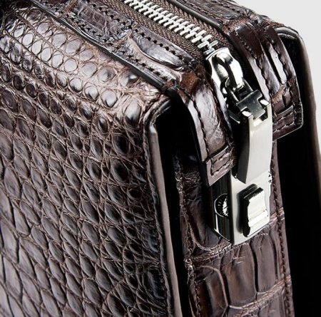 Brown Luxury Alligator Business Briefcase Alligator Laptop Bag for Men-Lock